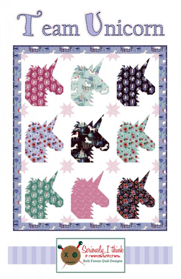 Team Unicorn quilt sewing pattern from Kelli Fannin Quilt Designs