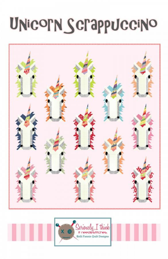 Unicorn Scrappuccino quilt sewing pattern from Kelli Fannin Quilt Designs
