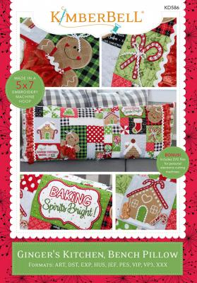 Ginger's Kitchen Bench Pillow Machine Embroidery CD from KimberBell Designs