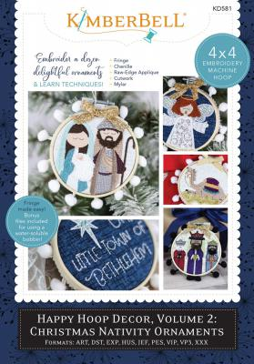 INVENTORY REDUCTION...Happy Hoop Decor Volume 2 Christmas Nativity Ornaments Machine Embroidery CD from KimberBell Designs