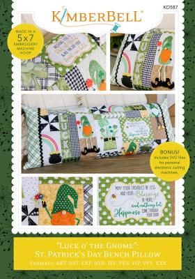 Luck O The Gnome Bench Pillow Machine Embroidery CD from KimberBell Designs