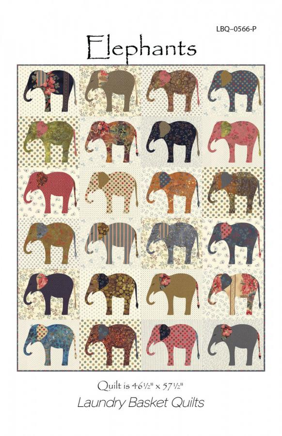 Elephants quilt sewing pattern from Laundry Basket Quilts