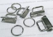 Key Fob Hardware - Nickel - contains 4 clamps, 4 split rings,  Size 1 1/4