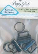 CLOSEOUT...Key Fob Hardware  - Dark Slate - contains 4 clamps, 4 split rings, Size 1 1/4