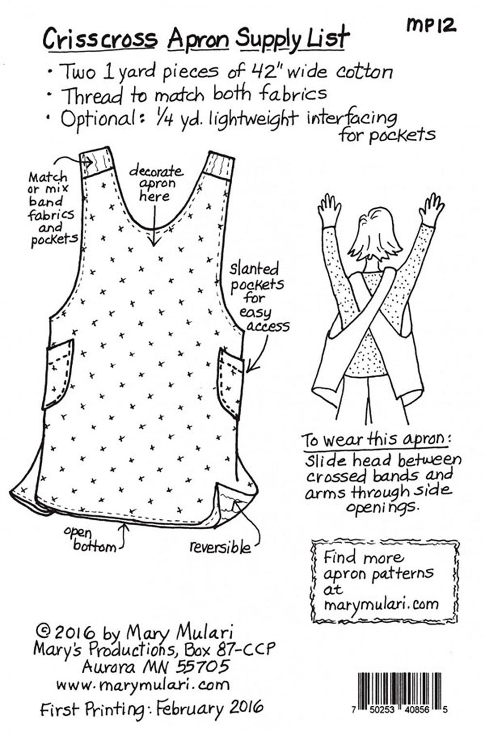 Crisscross Apron Sewing Pattern From Mary Mulari Designs