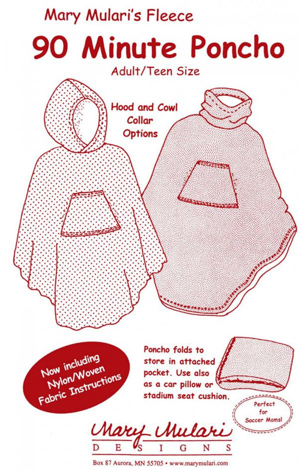 90 Minute Poncho for Adults and Teens sewing pattern from Mary Mulari Designs