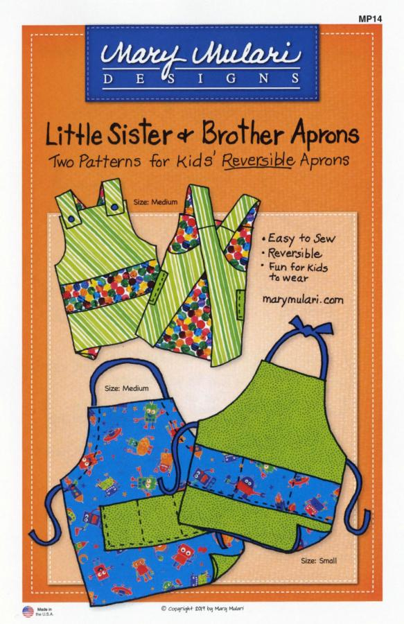 Little Sister & Brother Aprons sewing pattern from Mary Mulari Designs