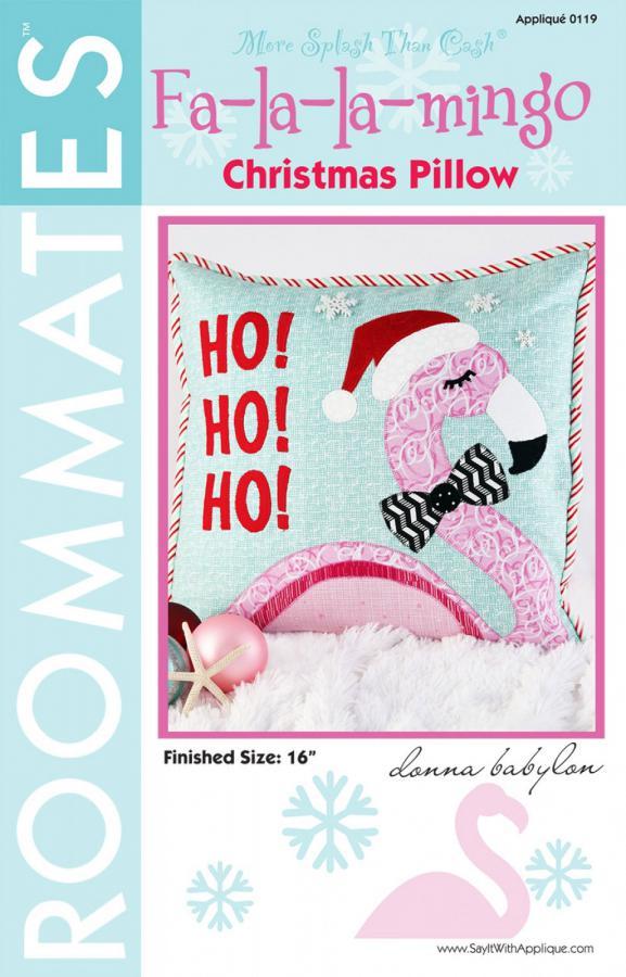 Fa-la-la-mingo Christmas Pillow sewing pattern from More Splash Than Cash