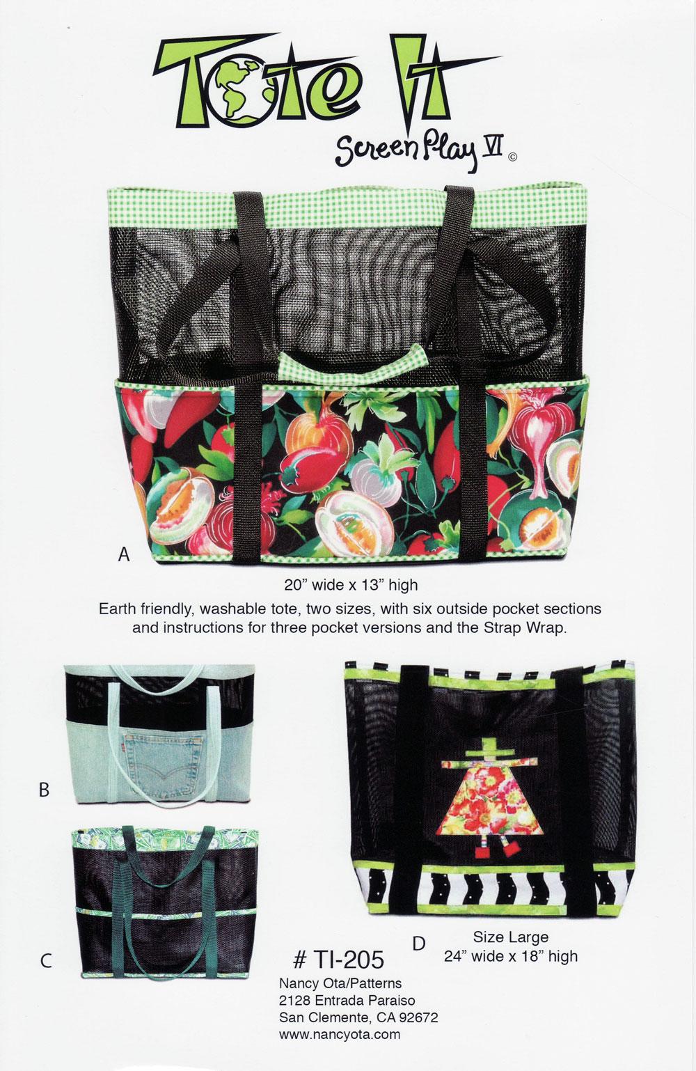 Tote It Sewing Pattern By Nancy Ota