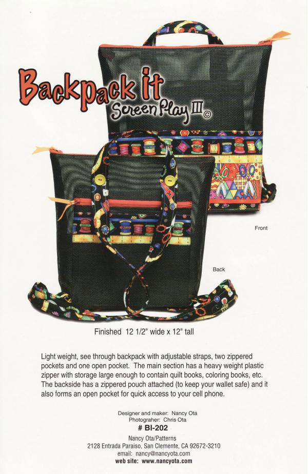 Backpack It sewing pattern by Nancy Ota