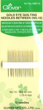 Clover Gold Eye Quilting Needles, Size 10