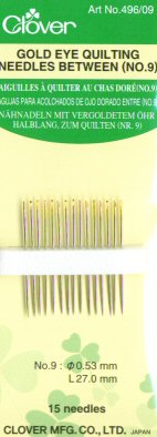 Clover Gold Eye Quilting Needles, Size 9
