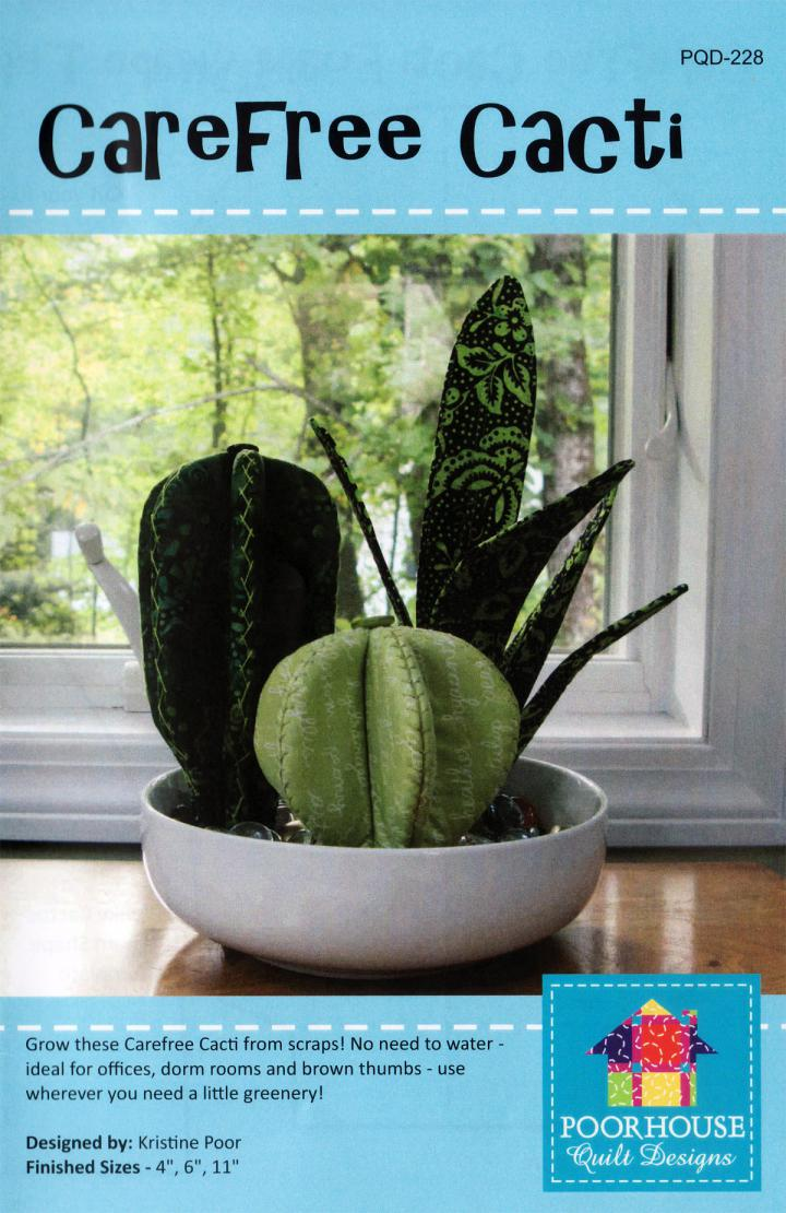 Carefree Cacti sewing pattern by Poorhouse Quilt Designs