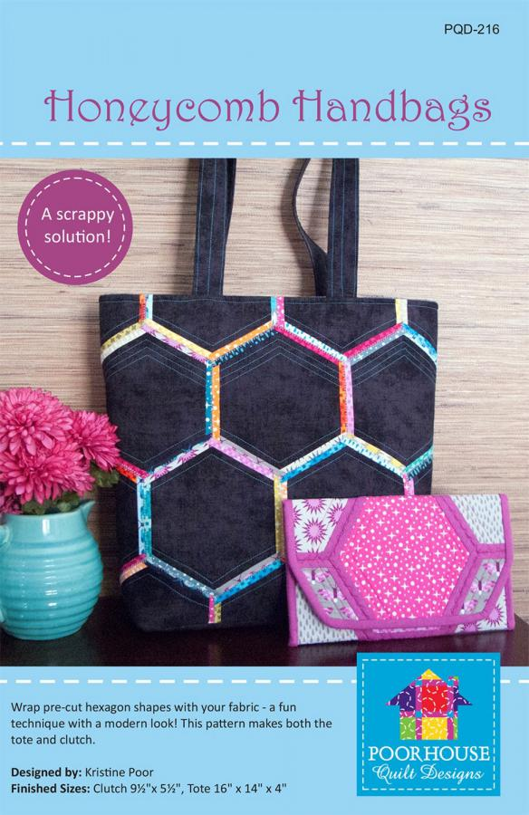 Honeycomb Handbags sewing pattern by Poorhouse Quilt Designs