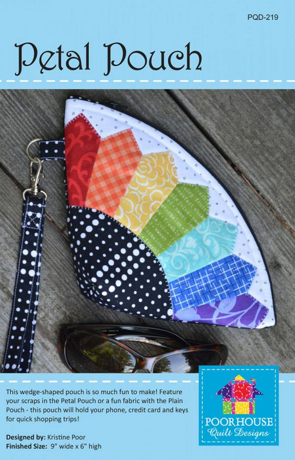 Petal Pouch sewing pattern by Poorhouse Quilt Designs
