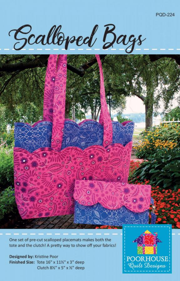 Scalloped Bags sewing pattern by Poorhouse Quilt Designs