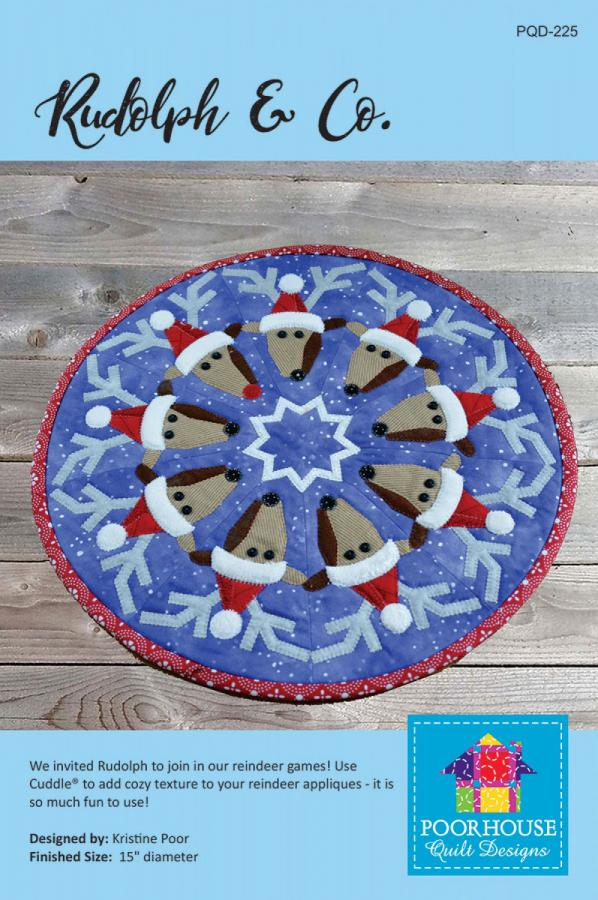 Rudolph and Co. table topper sewing pattern by Poorhouse Quilt Designs