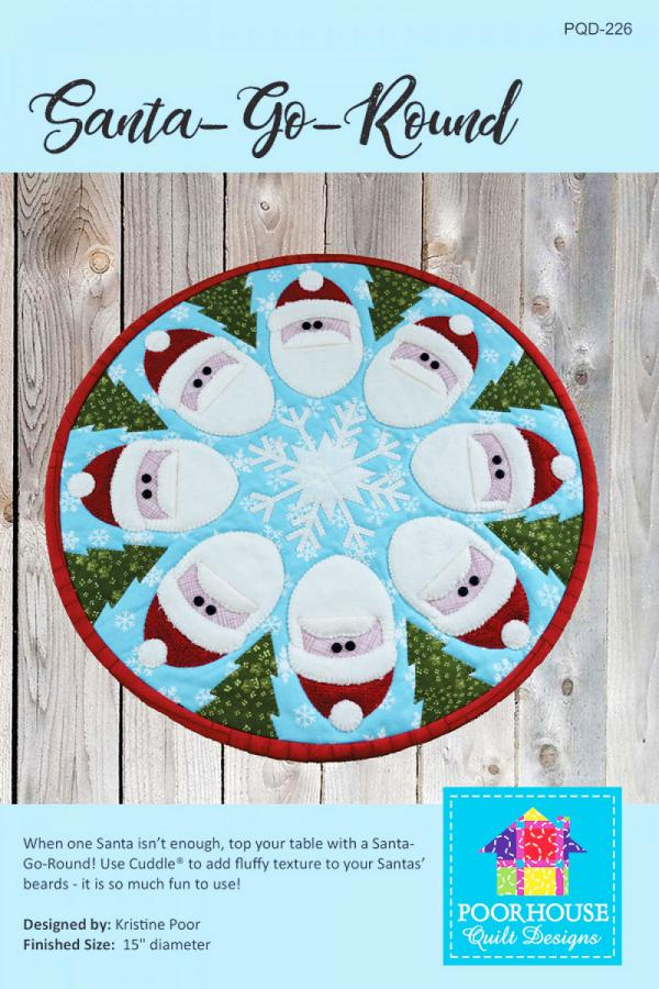 Santa Go Round table topper sewing pattern by Poorhouse Quilt Designs
