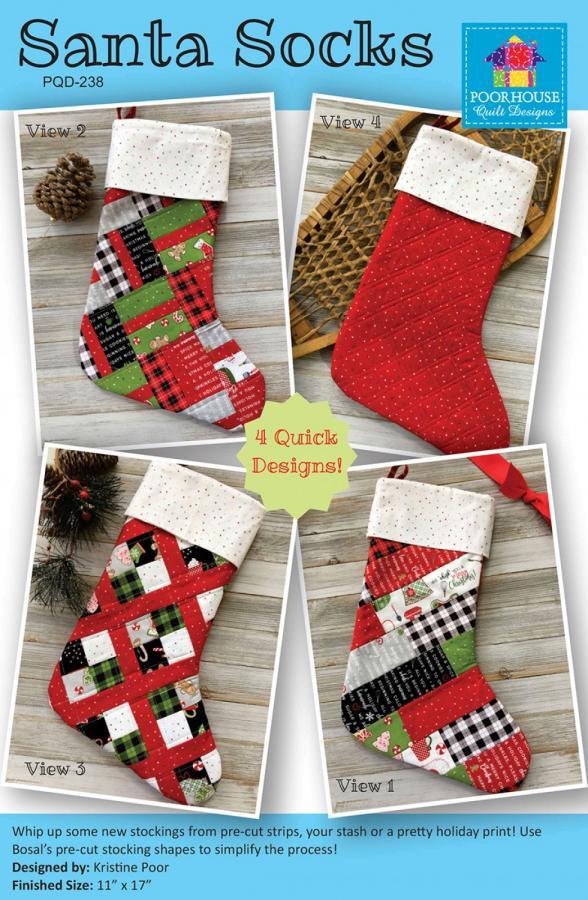 Santa Socks sewing pattern by Poorhouse Quilt Designs