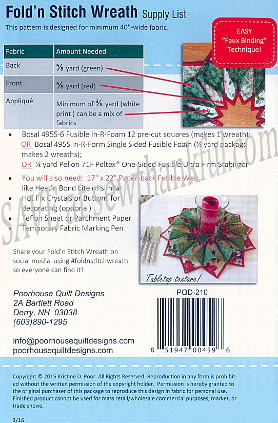 Fold 'N Stitch Wreath Sewing Pattern By Poorhouse Quilt Designs Inspiration Fold And Stitch Wreath Pattern