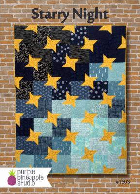 Starry Night quilt sewing pattern Card from Purple Pineapple Studio