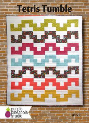 Tetris Tumble quilt sewing pattern Card from Purple Pineapple Studio