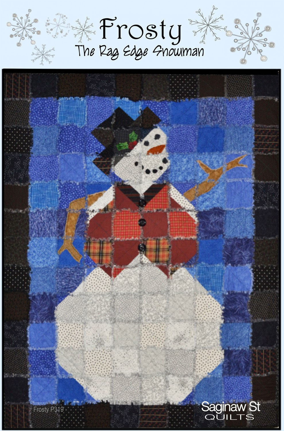 frosty-the-rag-edge-snowman-quilt-sewing-pattern-Saginaw-st-quilts-front