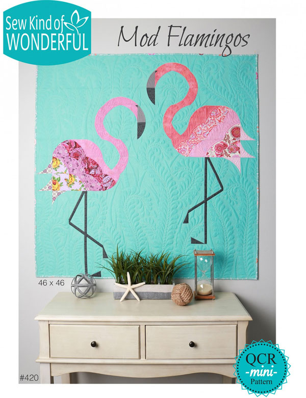 Mod-Flamingos-quilt-sewing-pattern-sew-kind-of-wonderful-front