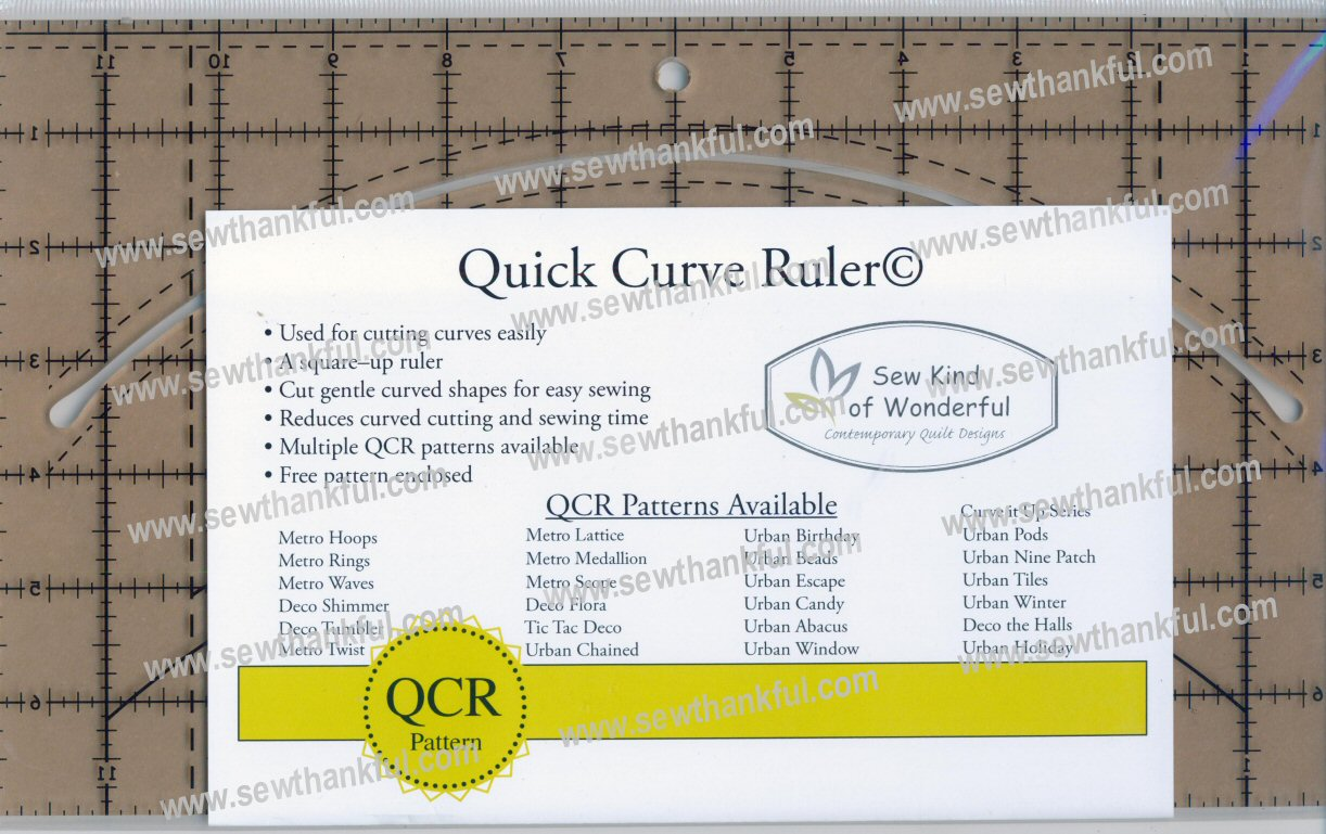 Mini Curvit LONGARM Quilting Ruler from Sew Kind of Wonderful Size & Fit Guide