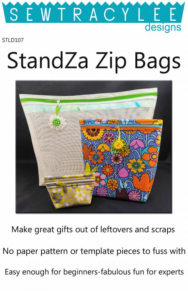 PRINT - StandZa Zip Bags sewing pattern from Sew TracyLee Designs