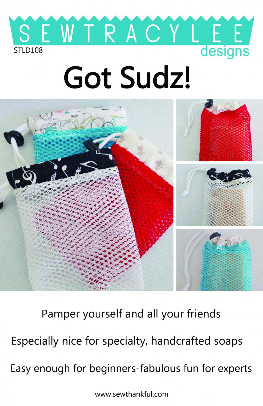 Download - Got Sudz! Spa Exfoliating Scrubby and Soap-Saver Sack sewing pattern from Sew TracyLee Designs