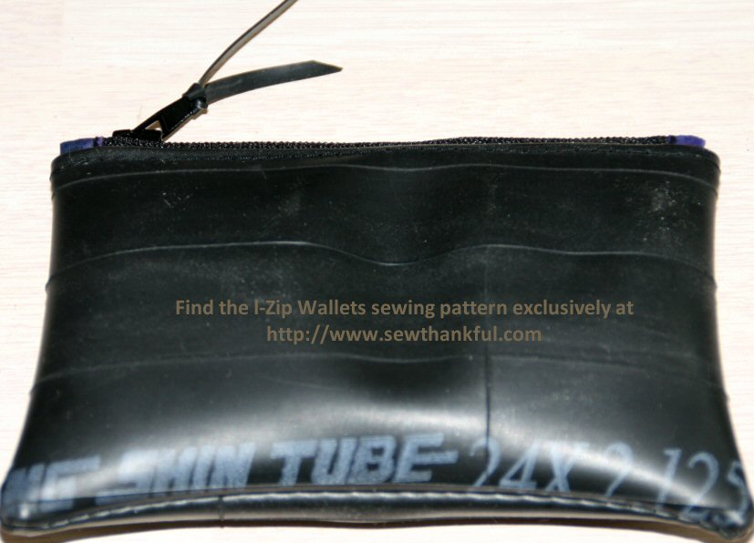 Recycled Bike Tube Zippered Coin Purse -- fully lined