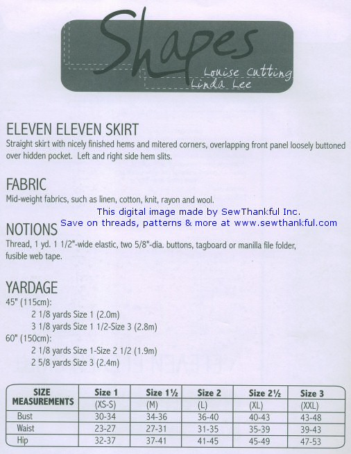 Eleven Eleven Skirt pattern- Shapes Collection - by Linda Lee and ...