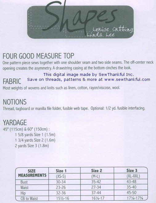 Four Good Measure Top pattern- Shapes Collection - by Linda Lee and ...