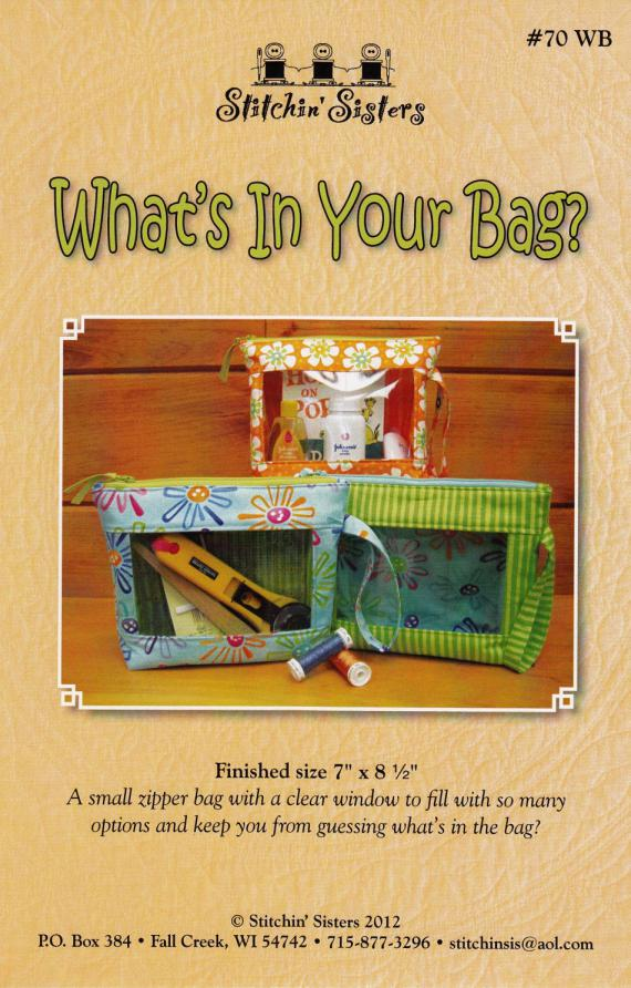 What's In Your Bag sewing pattern from Stitchin Sisters
