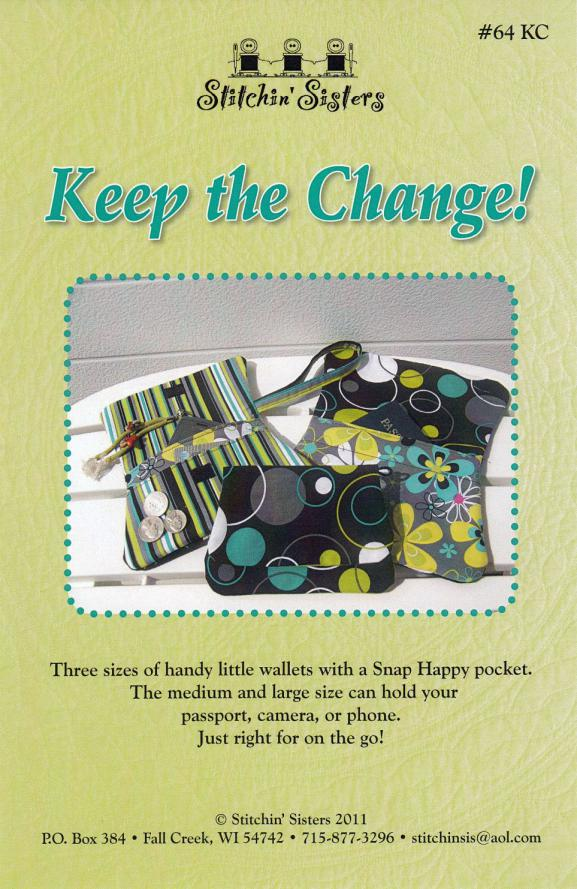 Keep the Change wallet sewing pattern from Stitchin Sisters