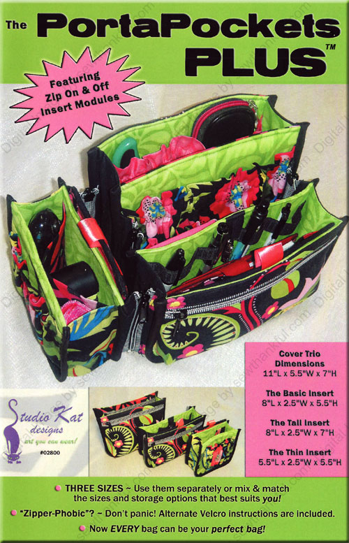 The PortaPockets Plus bag sewing pattern Studio Kat Designs front Sewing Patterns For Plus Size Women