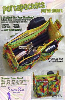 The Porta Pockets Purse Insert sewing pattern from Studio Kat Designs