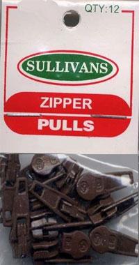 CLOSEOUT...Make-A-Zipper Sullivan REGULAR Zipper Pulls - Pack of 12 - BROWN