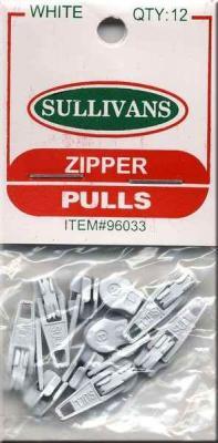 CLOSEOUT...Make-A-Zipper Sullivan Zipper Pulls - Pack of 12 - WHITE