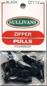 CLOSEOUT...Make-A-Zipper Sullivan REGULAR Zipper Pulls - Pack of 12 - BLACK