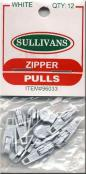 CLOSEOUT...Make-A-Zipper Sullivan Zipper Pulls - Pack of 12 - WHITE