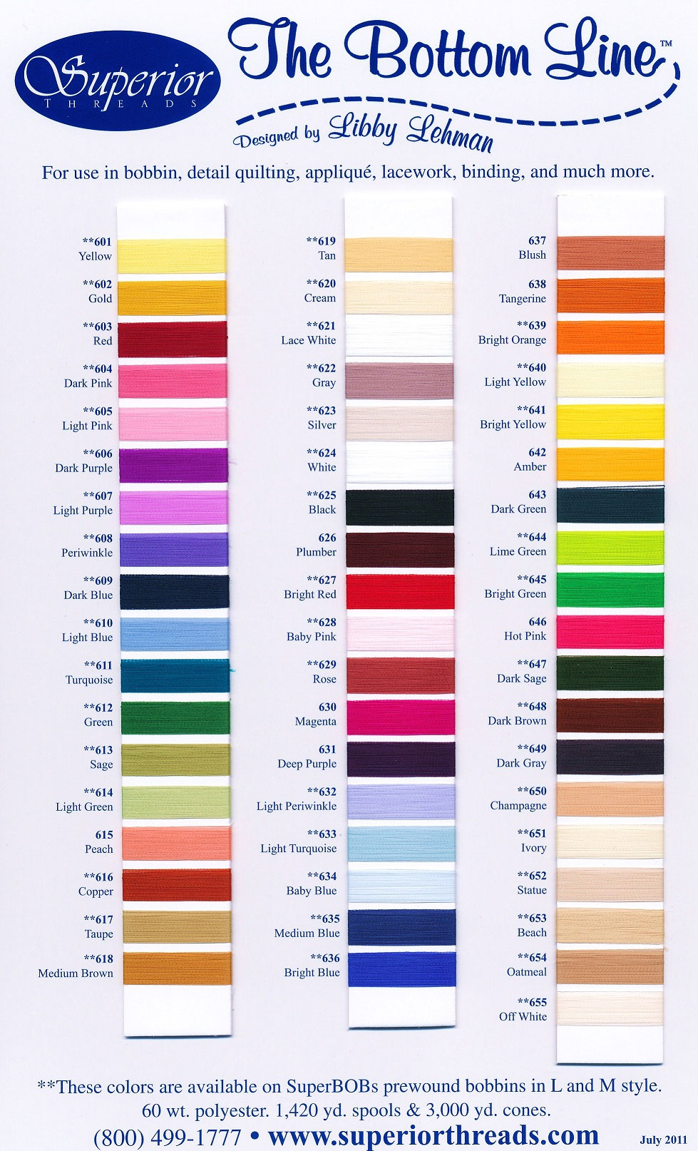 Superior The Bottom Line Actual Thread Color Chart