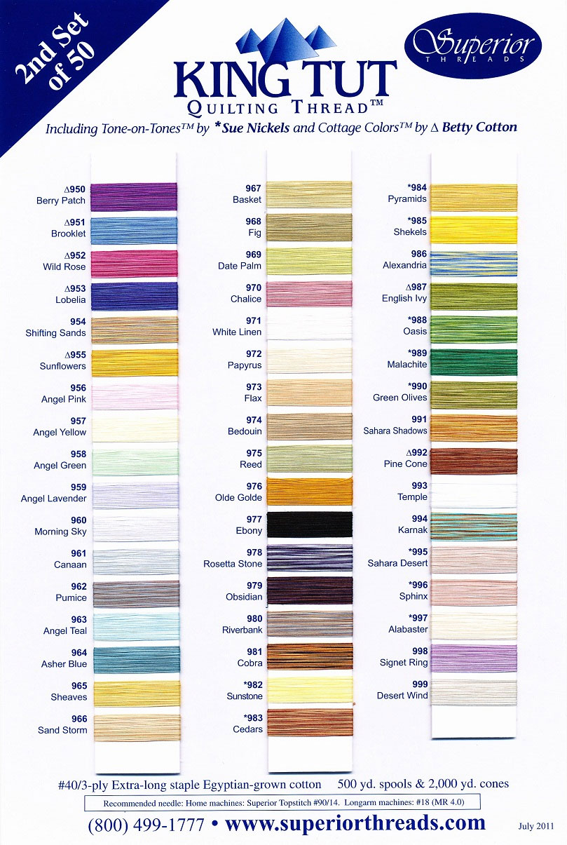 Superior king tut 2 actual thread color chart king tut 2 color chart nvjuhfo Images