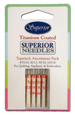 Superior Titanium-Coated Topstitich Needles - Assortment Pack of 5