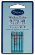 Superior Titanium-Coated Topstitich Needles - #80/12 Pack of 5