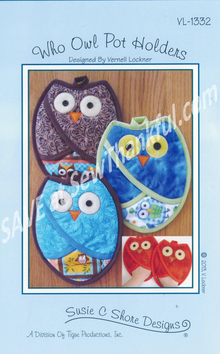 Who Owl Pot Holders Sewing Pattern By Susie C Shore Designs