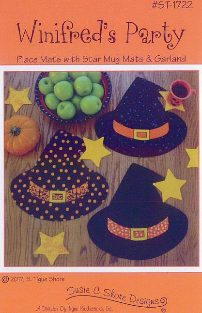 Winifred's Party, witch's/wizard's hat placemats and star garland sewing pattern by Susie C. Shore Designs