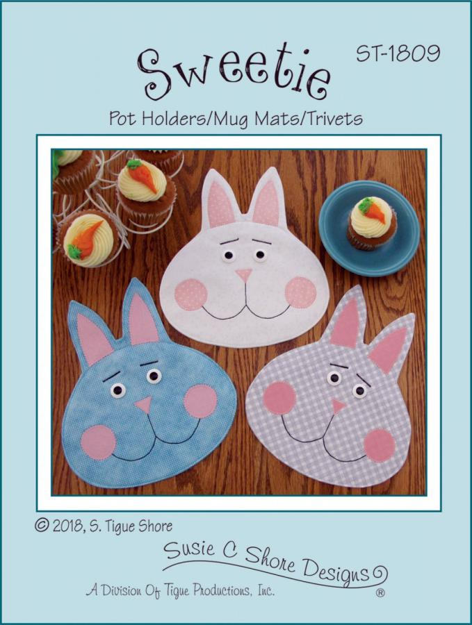 Sweetie bunny pot holders/mug mats/trivets sewing pattern by Susie C. Shore Designs