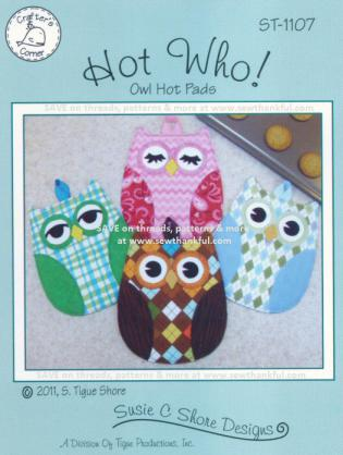 Hot Who! Owl Hot Pads sewing pattern by Susie C. Shore Designs